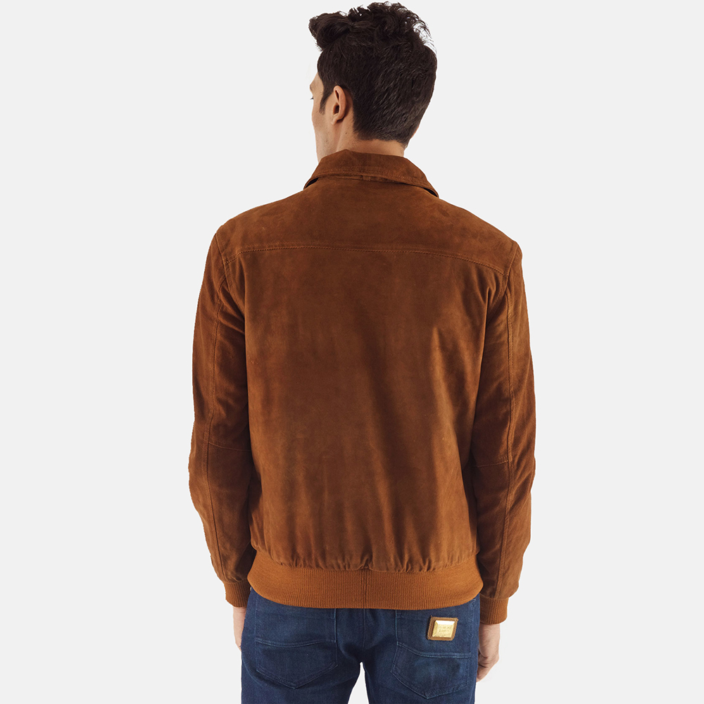 Mens Tomchi Tan Suede Leather Jacket 4