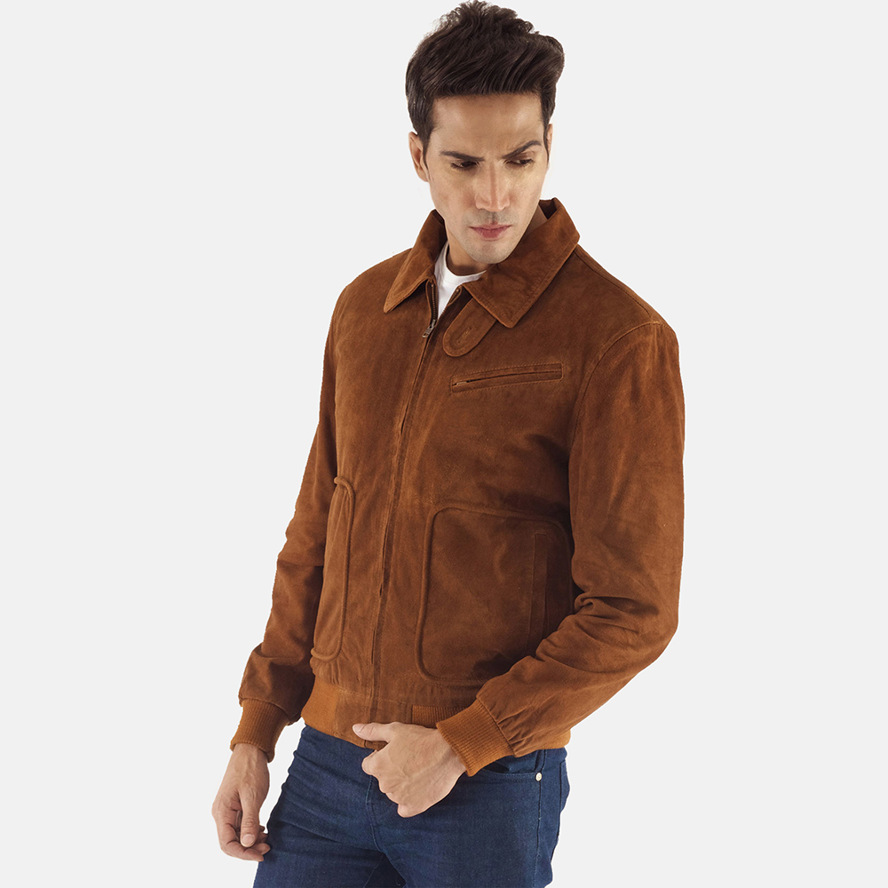 Mens Tomchi Tan Suede Leather Jacket 6