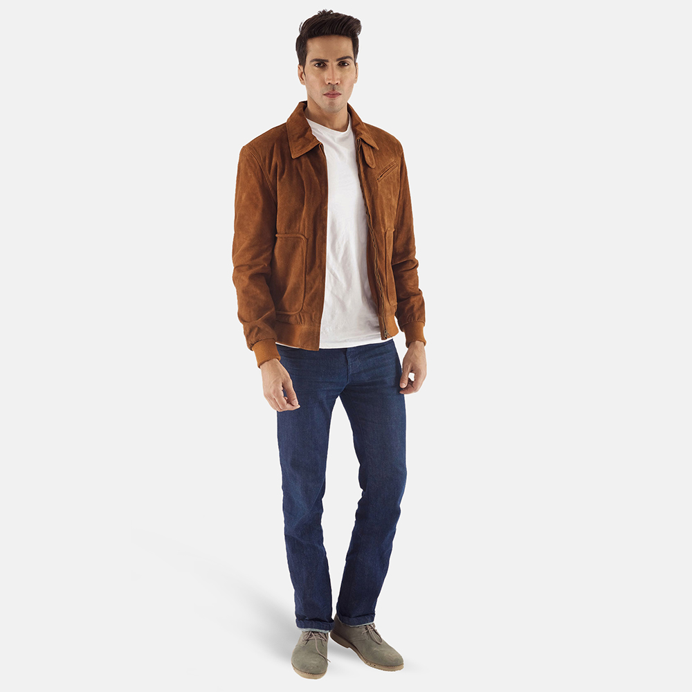 Mens Tomchi Tan Suede Leather Jacket 1