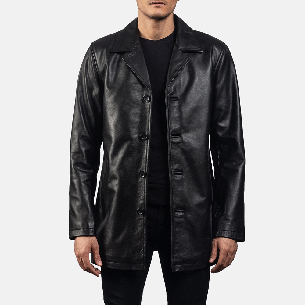 Mens Urban Slate Black Leather Coat 1
