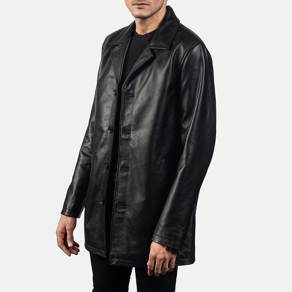 Mens Urban Slate Black Leather Coat 2