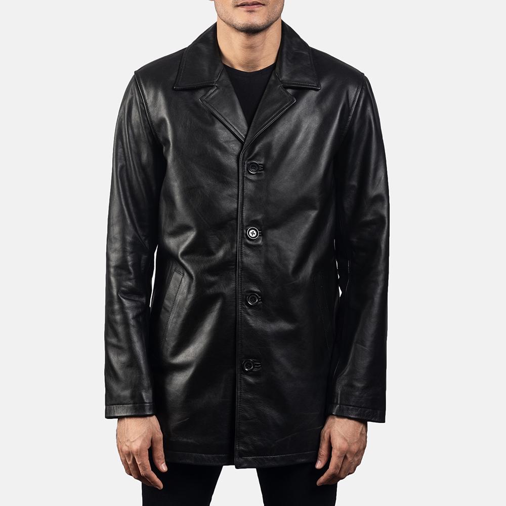 Mens Urban Slate Black Leather Coat 5