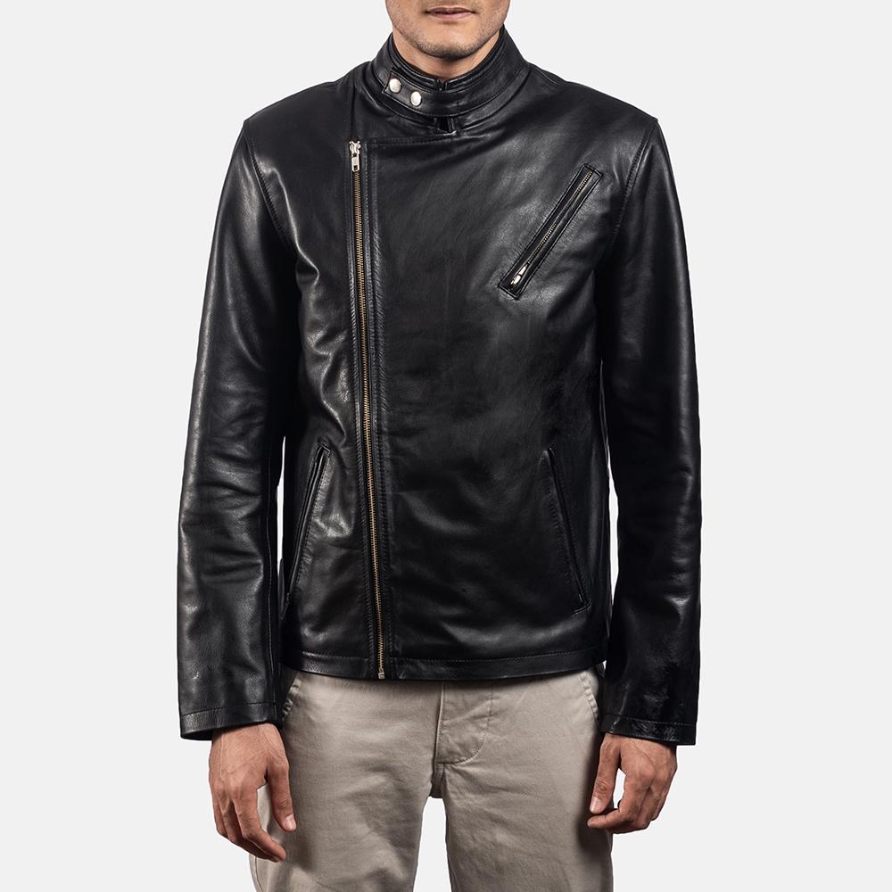 Mens Vivid Black Leather Biker Jacket 6