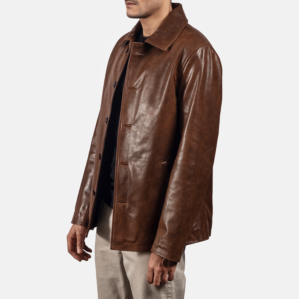 Mens Waffle Brown Leather Jacket 2