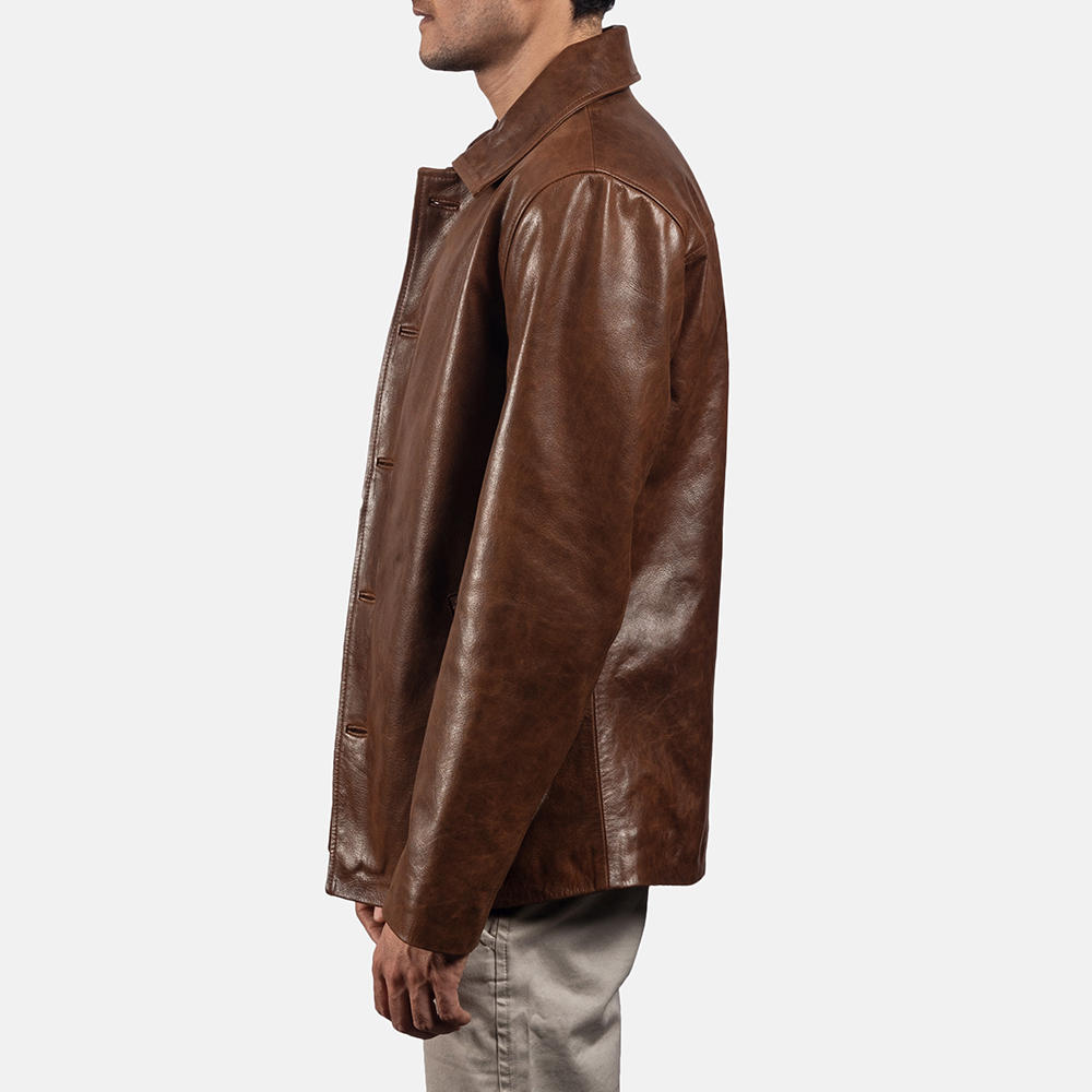 Mens Waffle Brown Leather Jacket 3