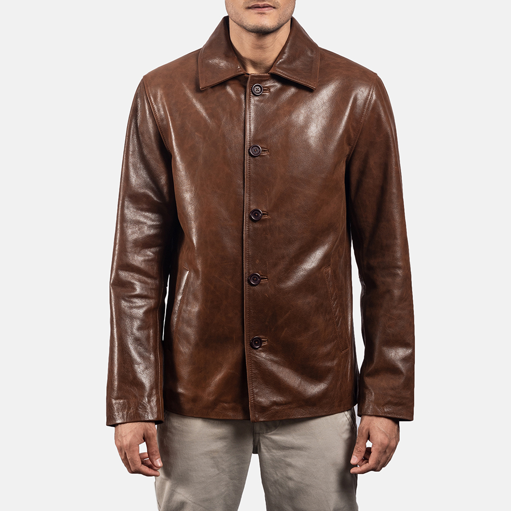 Mens Waffle Brown Leather Jacket 5