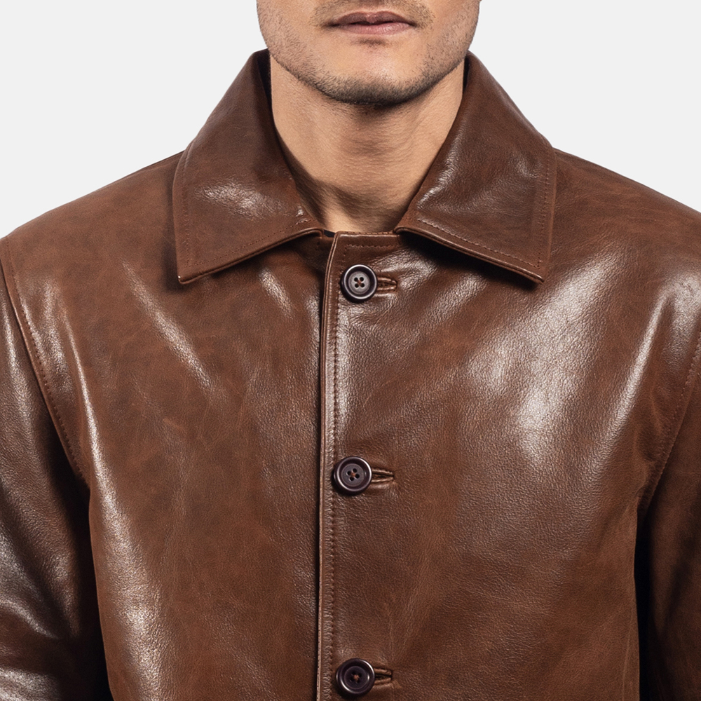 Mens Waffle Brown Leather Jacket 6