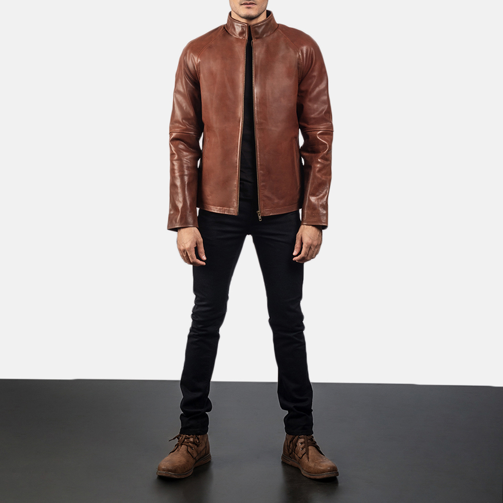 Mens Wilding Brown Leather Jacket 6