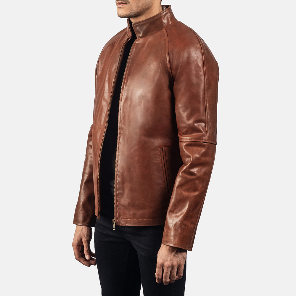 Mens Wilding Brown Leather Jacket 2