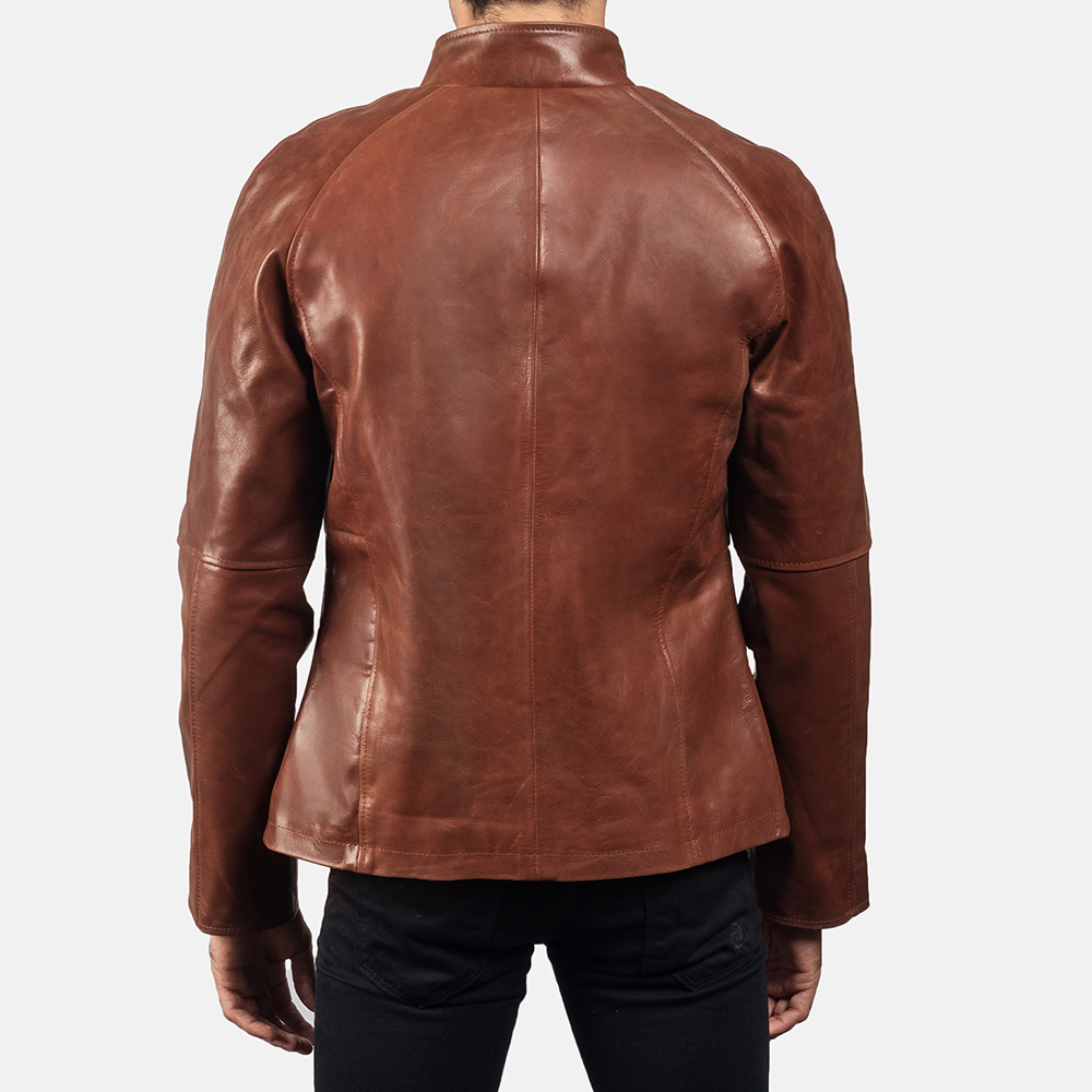 Mens Wilding Brown Leather Jacket 4