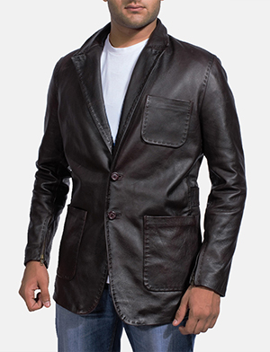 Mens Wine Black Leather Blazer