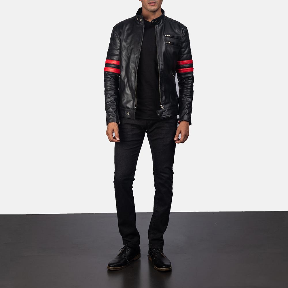 Mens Monza Black & Red Leather Biker Jacket 5