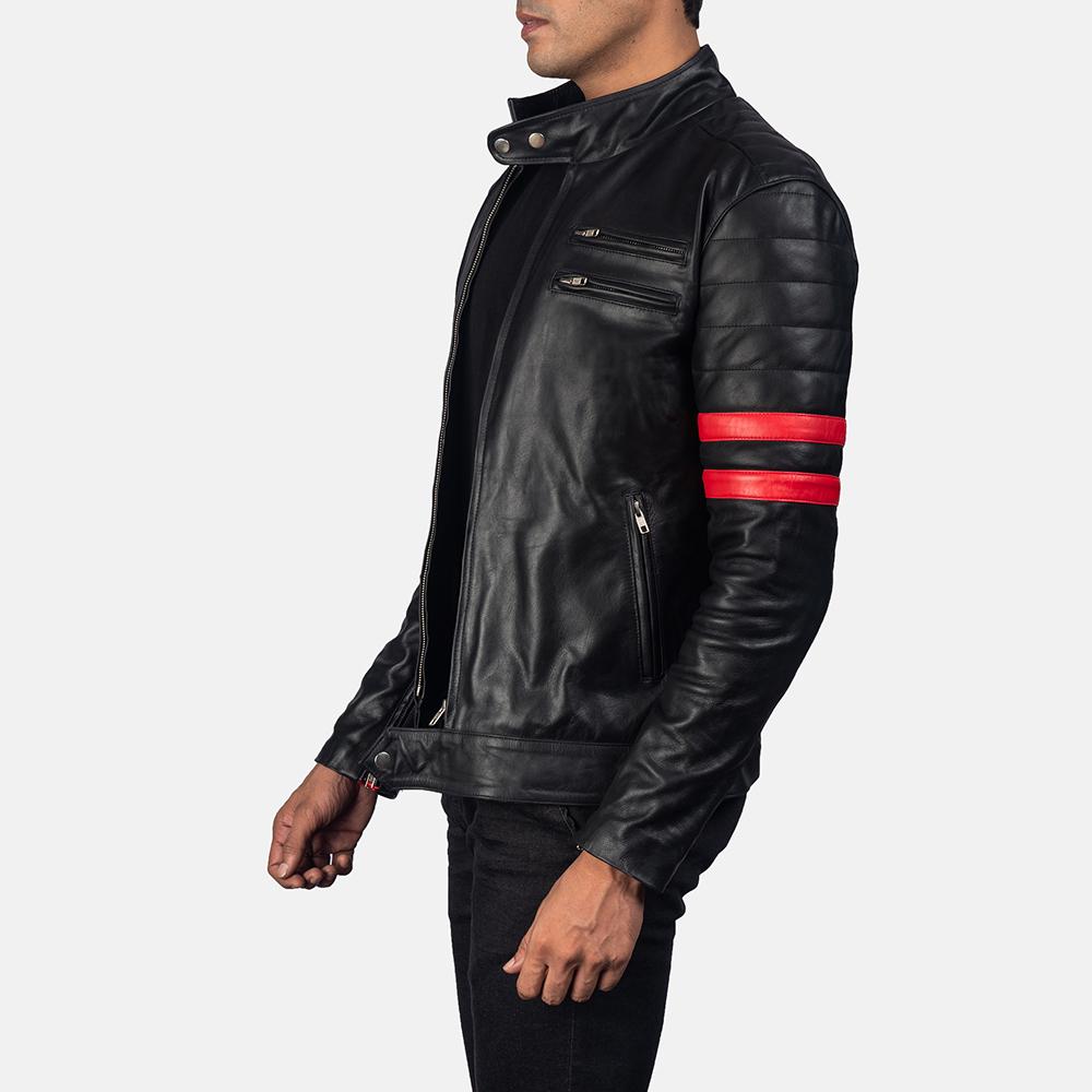 Mens Monza Black & Red Leather Biker Jacket 3
