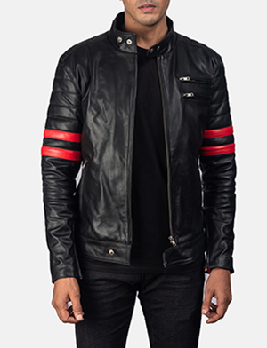 Mens Monza Black & Red Leather Biker Jacket