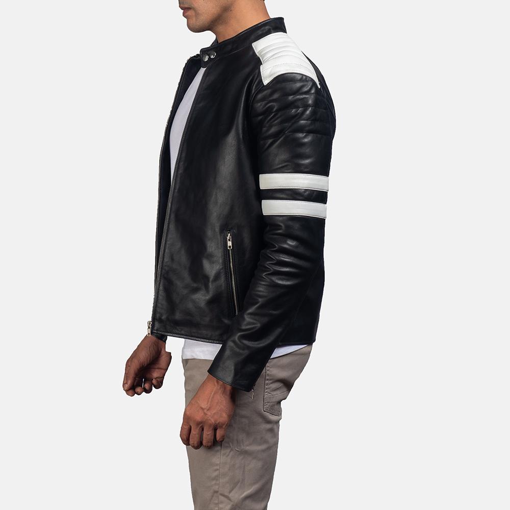 Mens Monza Black & White Leather Biker Jacket 3