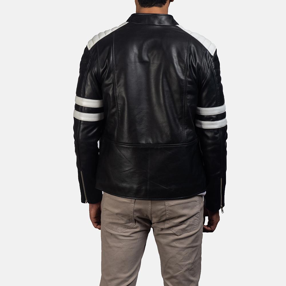 Mens Monza Black & White Leather Biker Jacket 4