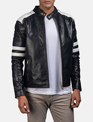 Mens Monza Black & White Leather Biker Jacket