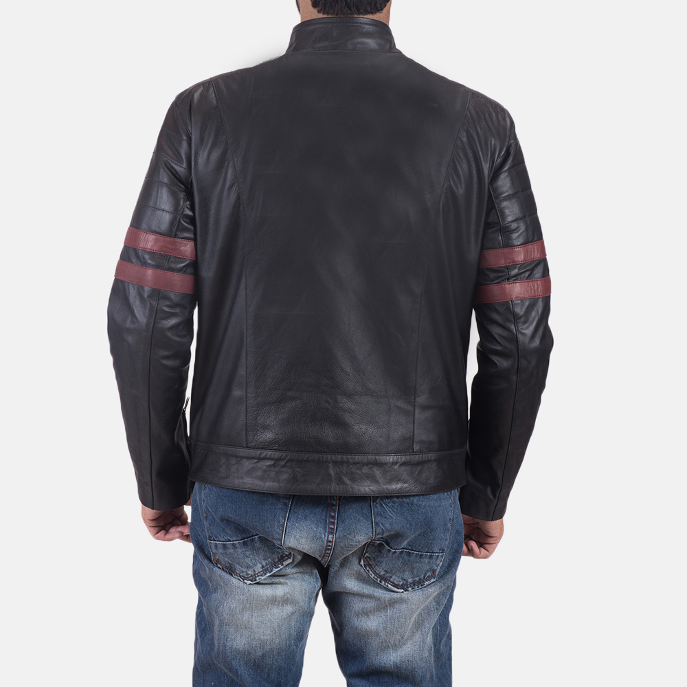 Mens Monza Black & Maroon Leather Biker Jacket 6