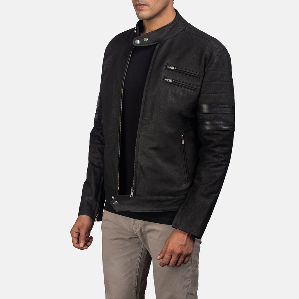 Mens Monza Distressed Suede Biker Jacket 2