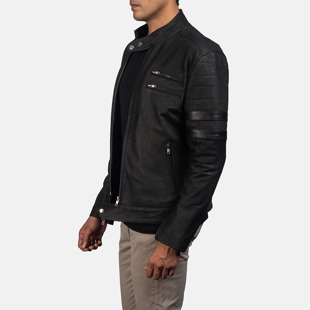 Mens Monza Distressed Suede Biker Jacket 3