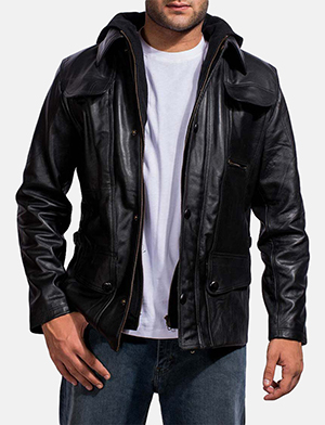 Mens Moulder Hooded Black Leather Jacket