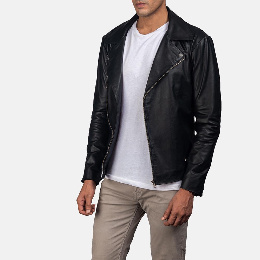 Mens Outlaw Black Leather Biker Jacket 2