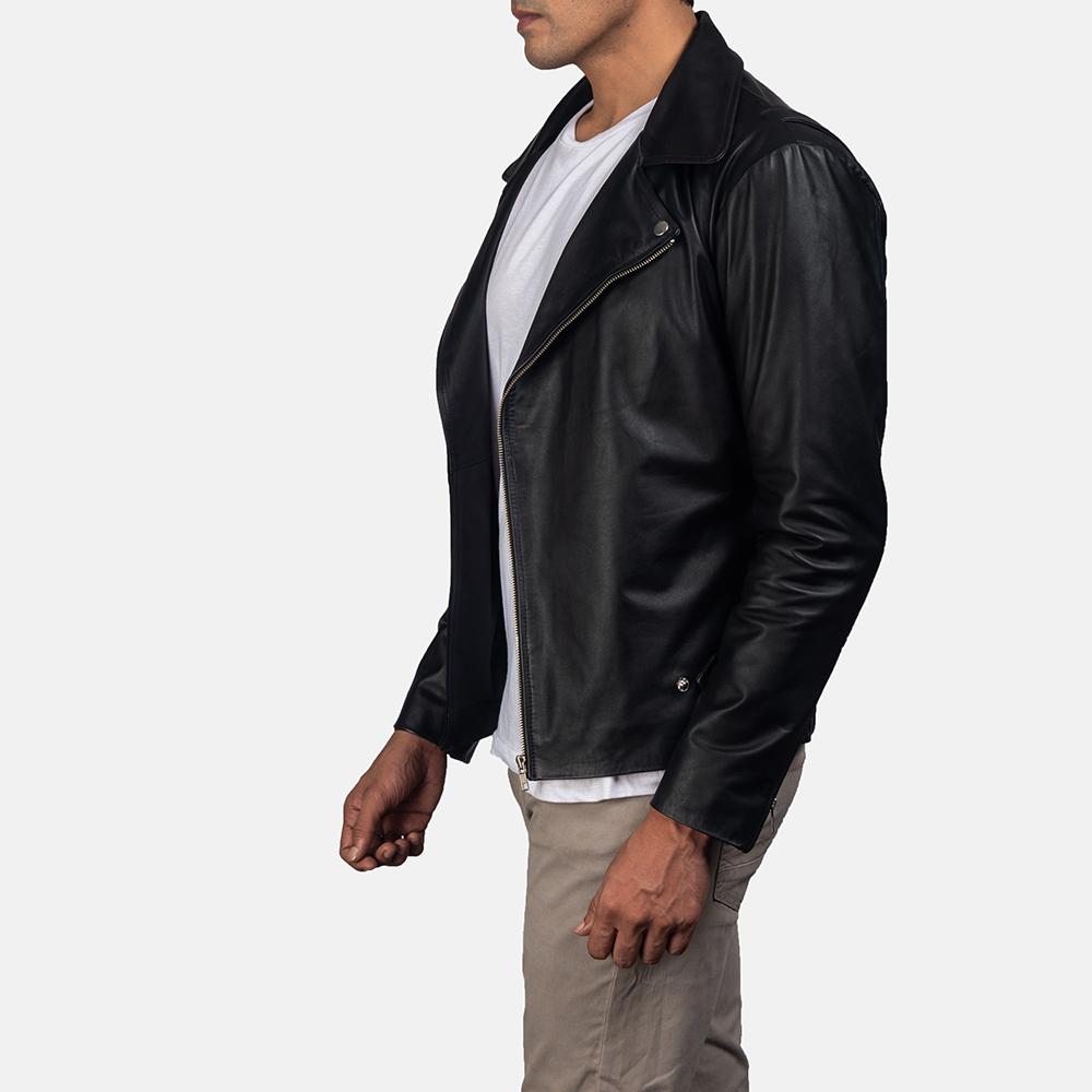 Mens Outlaw Black Leather Biker Jacket 3