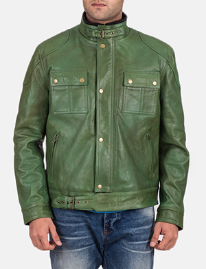 Men's Krypton Distressed Green Leather Jacket