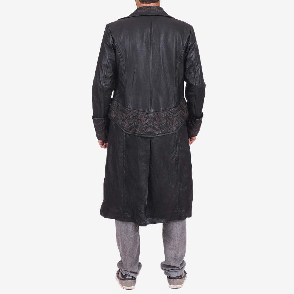 Mens Pirate Black Leather Coat 5