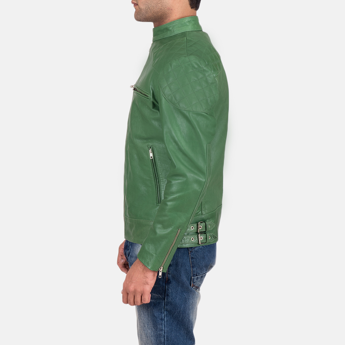 Mens Gatsby Green Leather Biker Jacket 4