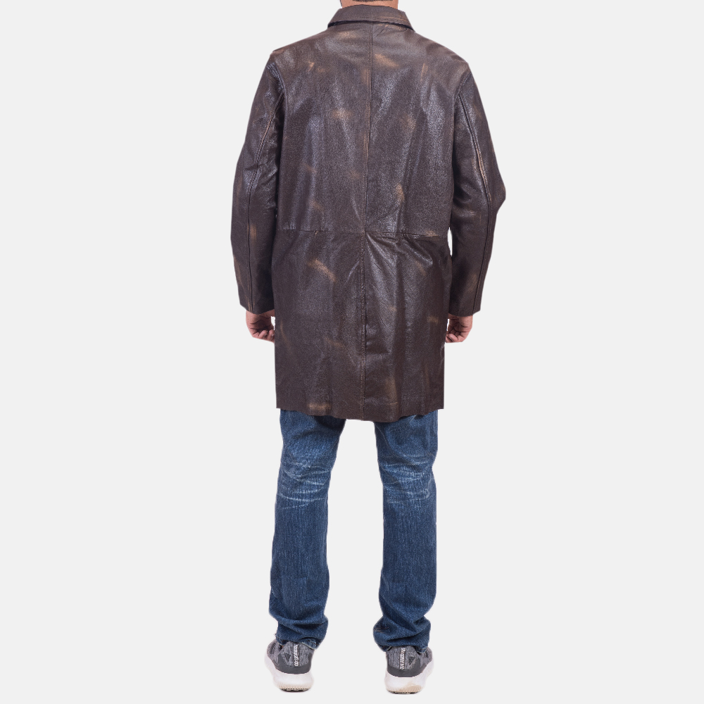 Mens Classmith Brown Leather Coat 4