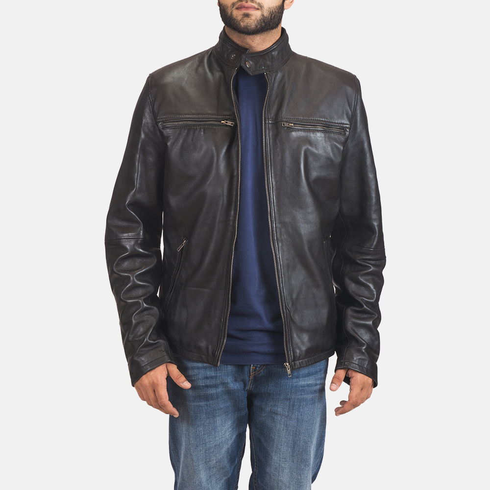Men's Liam Black Leather Biker Jacket 1