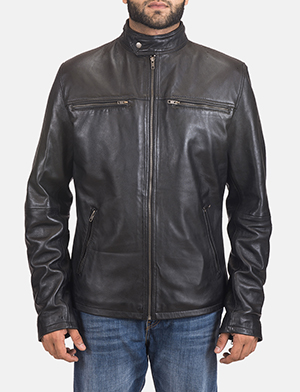 Men's Liam Black Leather Biker Jacket