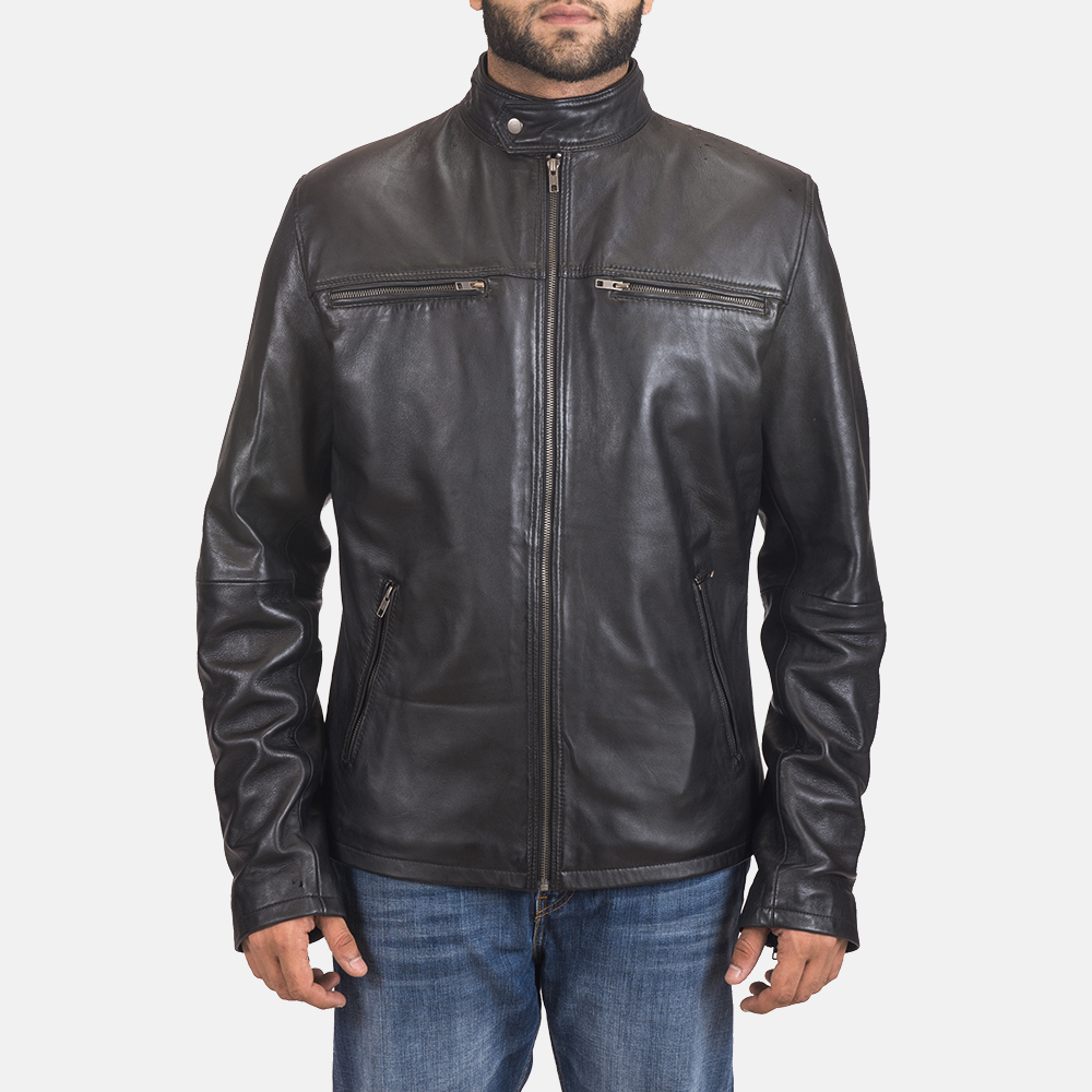 Men's Liam Black Leather Biker Jacket 2