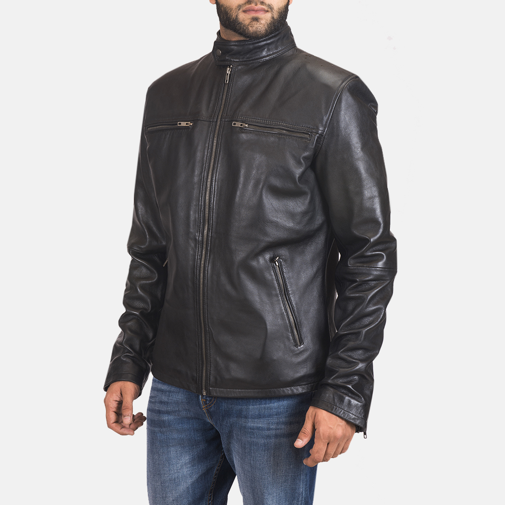 Men's Liam Black Leather Biker Jacket 4