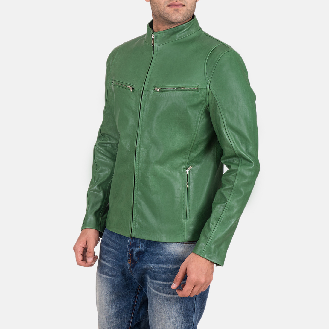 Mens Ionic Green Leather Jacket 3