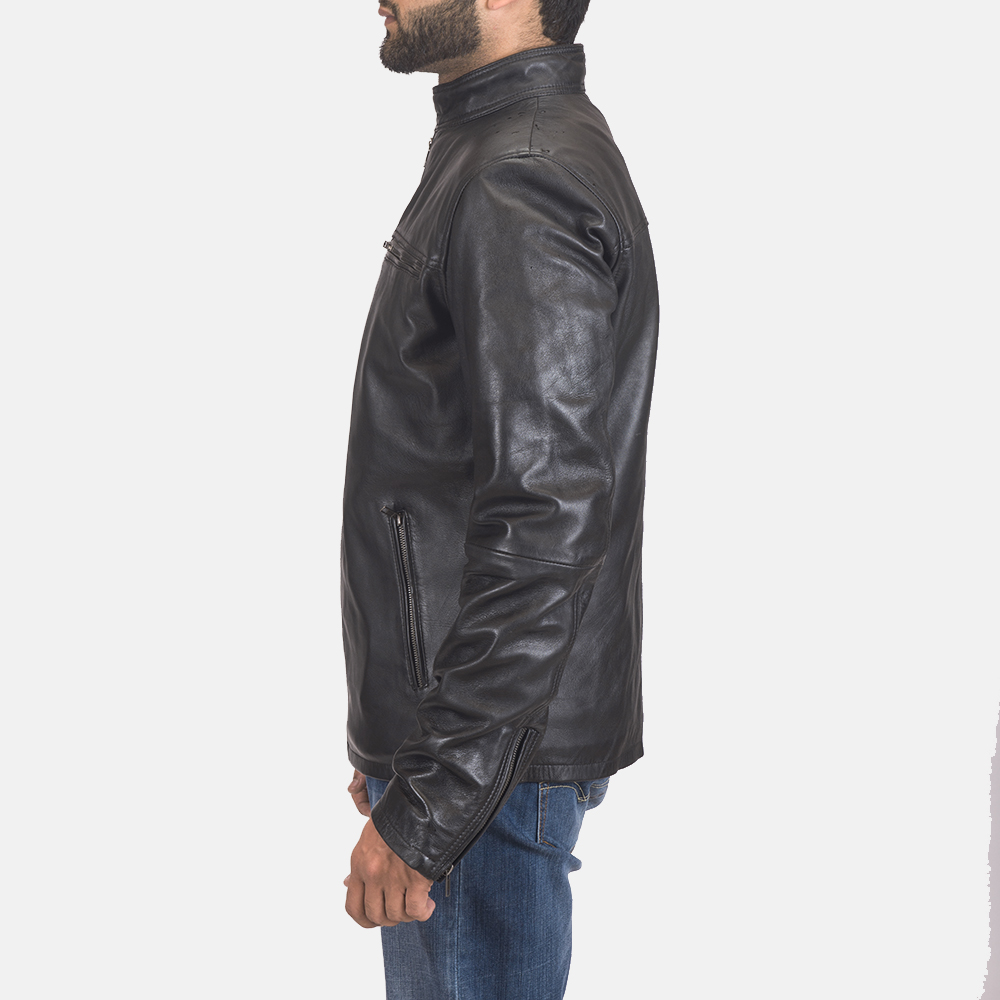 Men's Liam Black Leather Biker Jacket 5