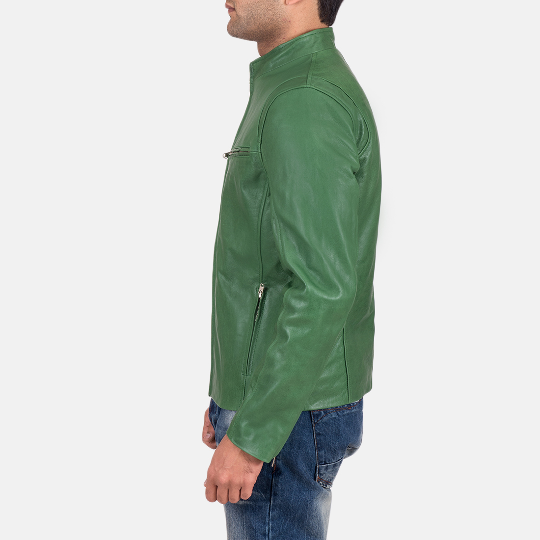 Mens Ionic Green Leather Jacket 5