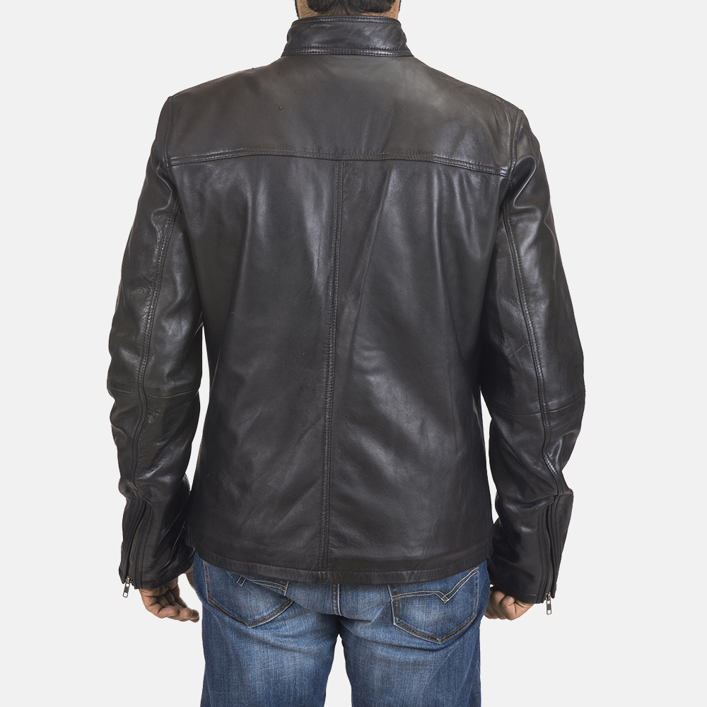 Men's Liam Black Leather Biker Jacket 6