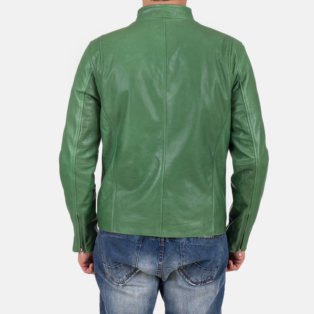 Mens Ionic Green Leather Jacket 6