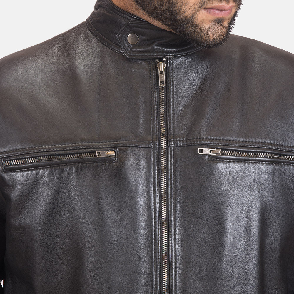 Men's Liam Black Leather Biker Jacket 3