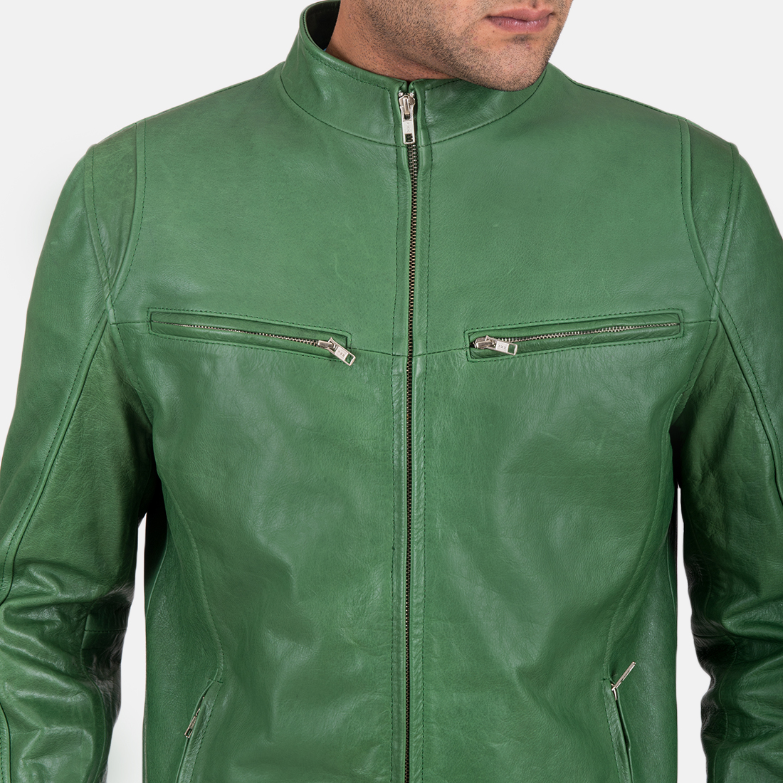 Mens Ionic Green Leather Jacket 4
