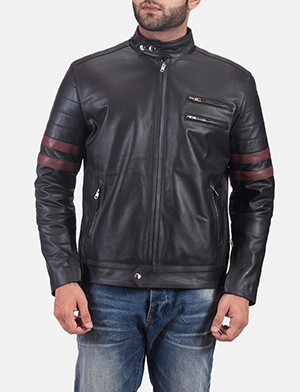 Mens Monza Black & Maroon Leather Biker Jacket