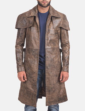 Men's Water-Resistant Brown Leather Duster