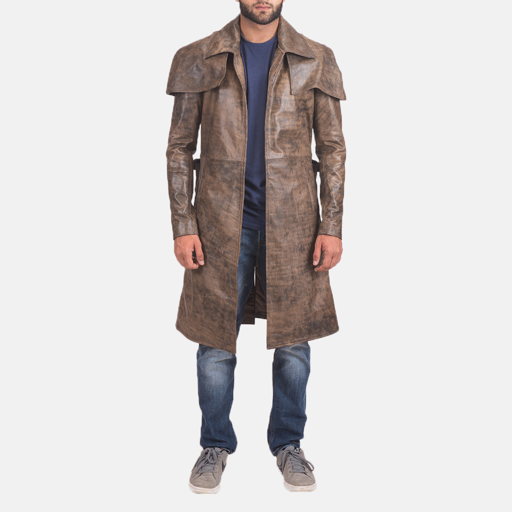 Men's Water-Resistant Brown Leather Duster 1