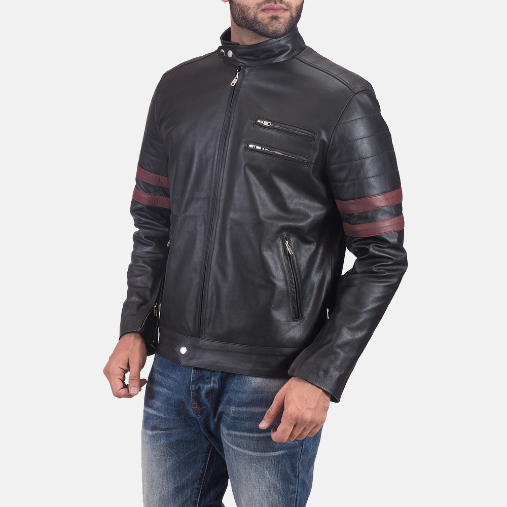 Mens Monza Black & Maroon Leather Biker Jacket 3