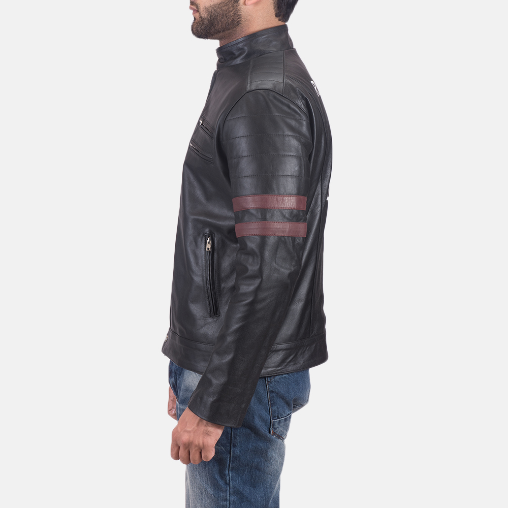 Mens Monza Black & Maroon Leather Biker Jacket 4