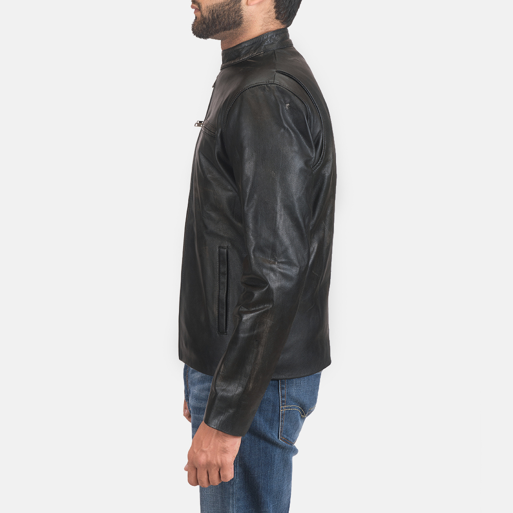 Mens Rustic Black Leather Biker Jacket 4