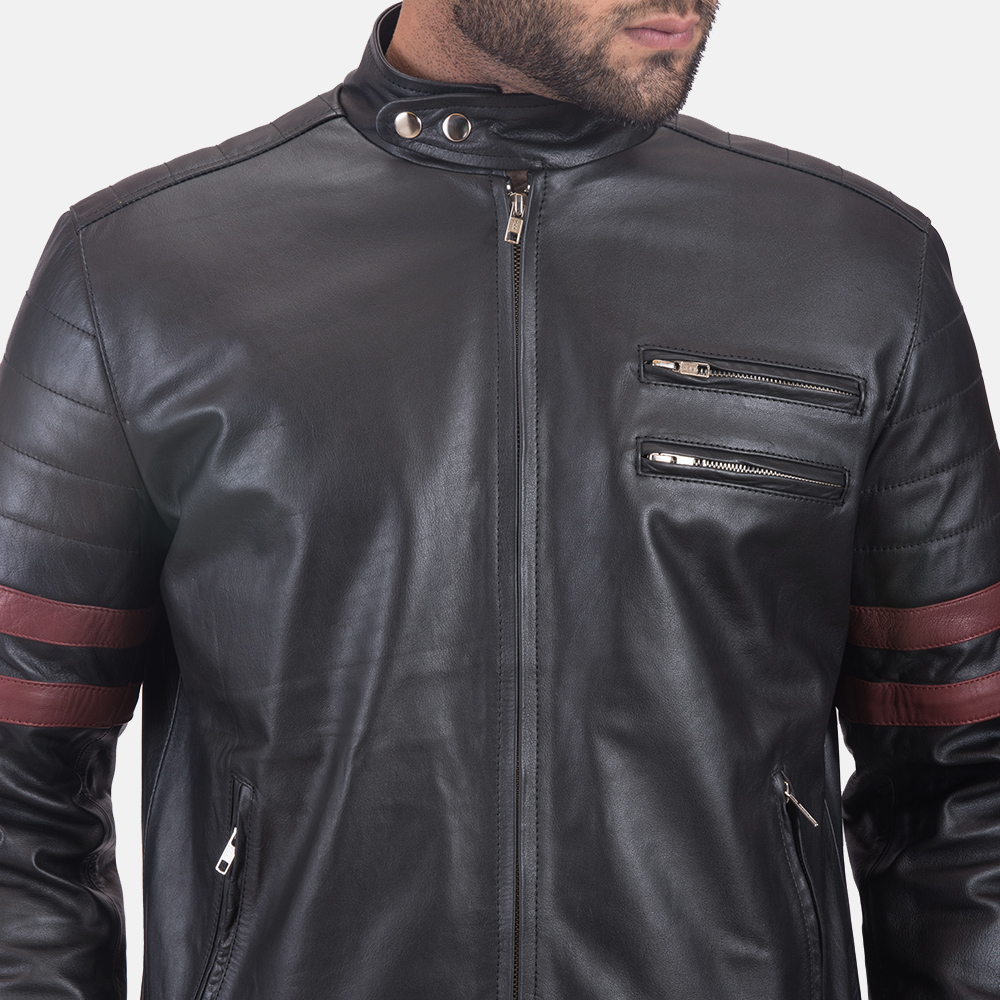 Mens Monza Black & Maroon Leather Biker Jacket 5