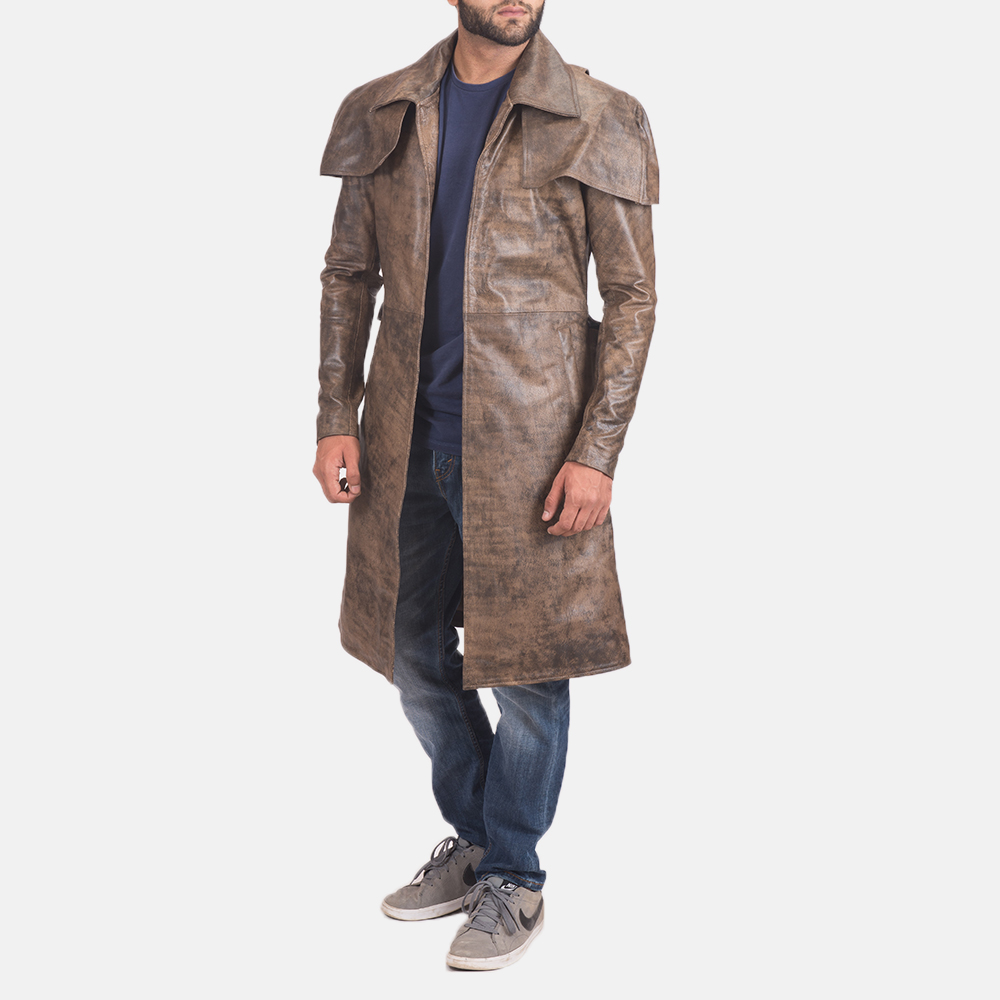 Men's Water-Resistant Brown Leather Duster 2